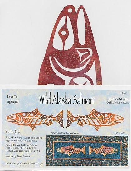Amazon com: Wild Alaska Salmon, Laser Cut Quilt Appliqué
