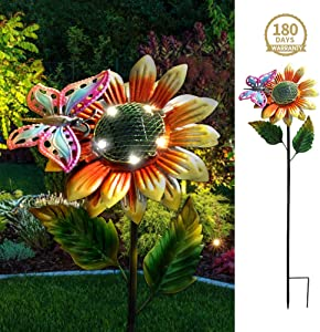 Petrala Solar Flower Lights Outdoor 5 Led Metal Butterfly Garden Stake Decor for Yard Pathway Driveway