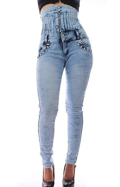 FARINA®1610 Pantalon vaquero de mujer, Push up/Levanta cola, pantalones elasticos