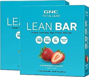 GNC Total Lean Lean Bar - Strawberry Yogurt, Twin Pack, 5 Bars per Box, Hunger-Satisfying and High-Protein Snack Bar