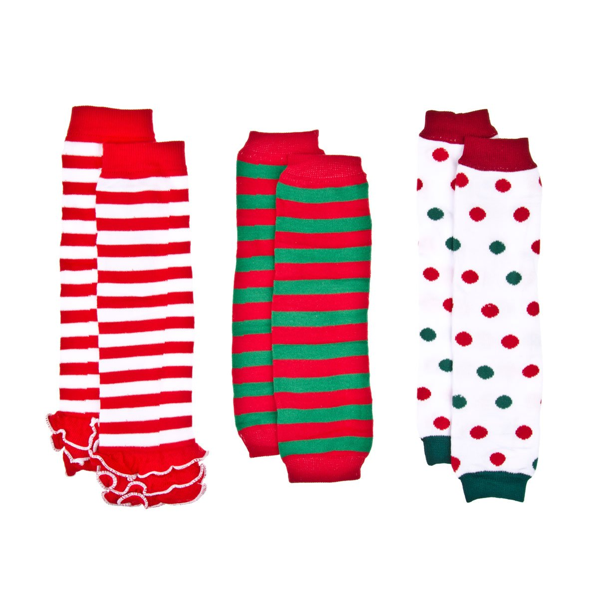 Ava's Christmas Baby Leg Warmers Set of 3 - Striped and Polka Dots crummy bunny BL-043