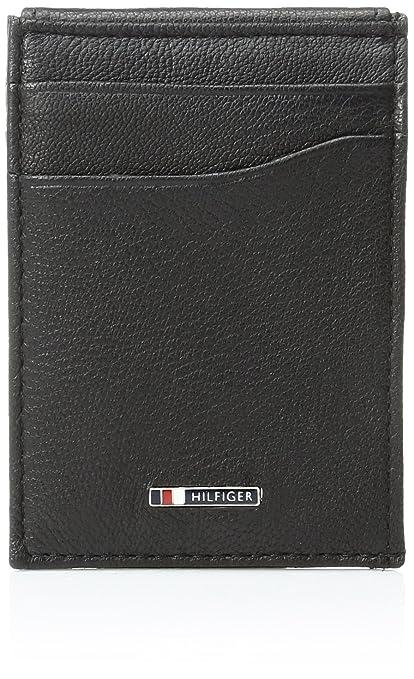 Tommy Hilfiger mens Leather Slim Front Pocket Wallet Wallet