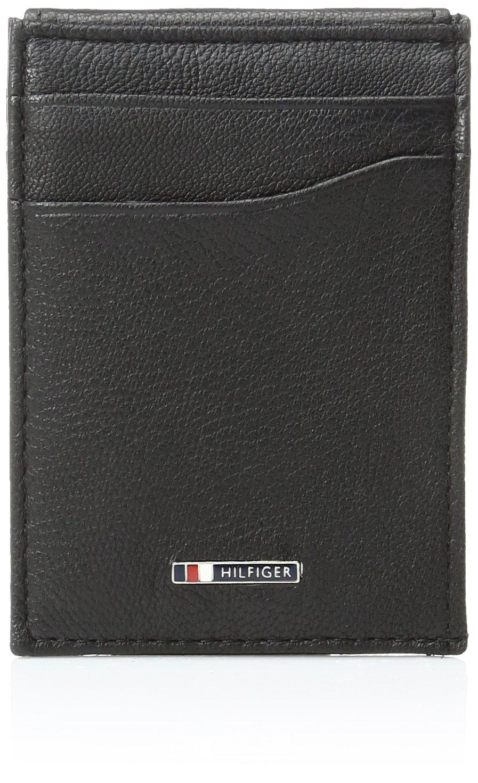 Tommy Hilfiger Men's Leather Slim Front Pocket Wallet,Lloyd Black