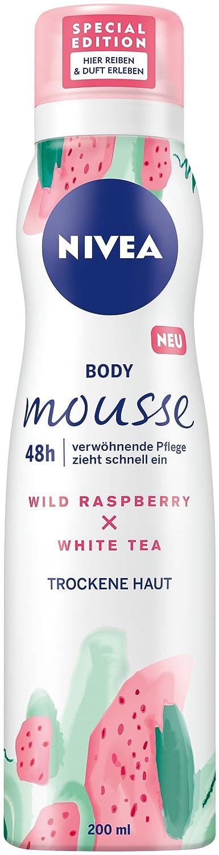 Nivea Corpo Mousse, lampone–Profumo di tè bianco, per la pelle secca, Dispenser, Confezione da (3X 100ML) 83868-01000-00