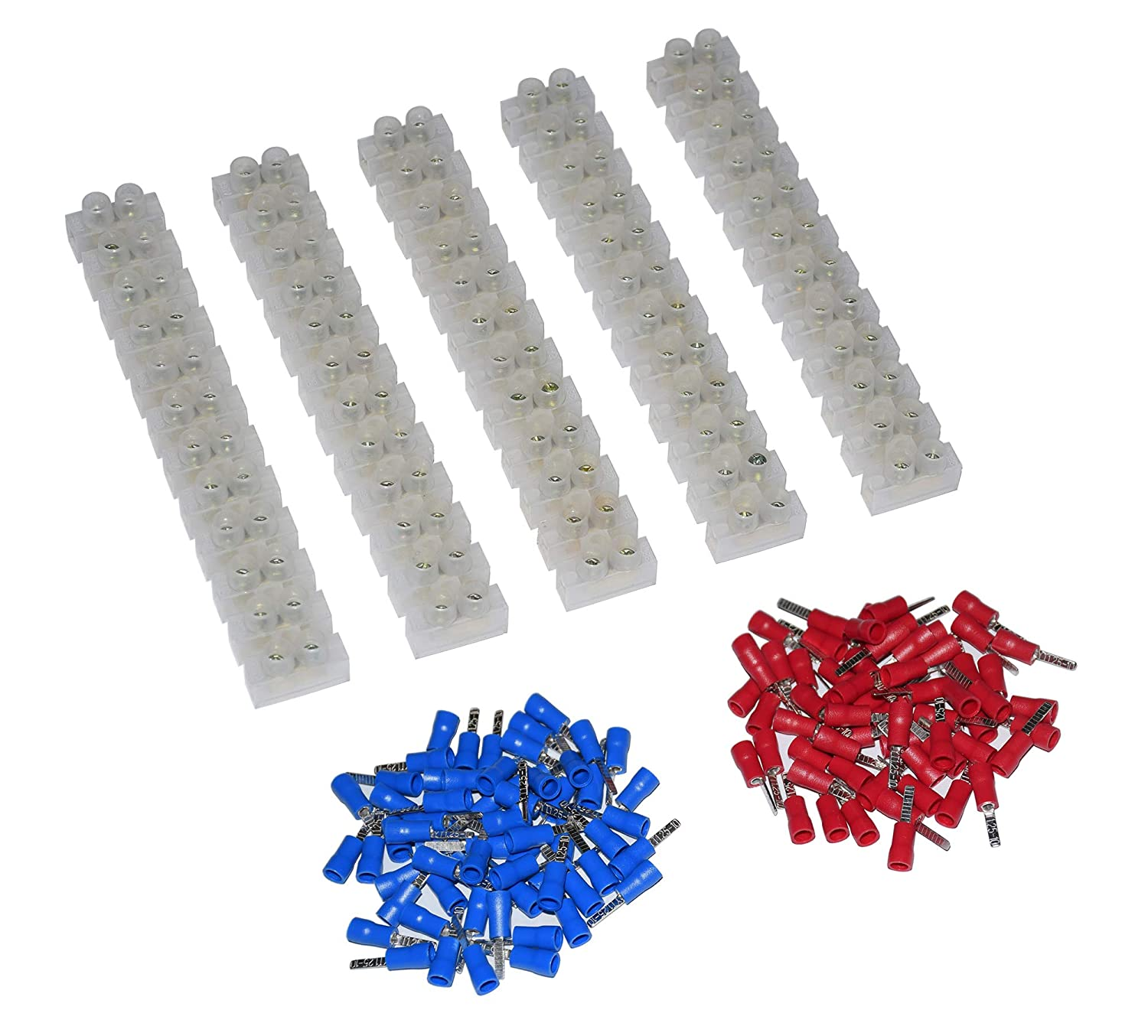 5Pcs 2 Rows 12P Wire Connector Screw Terminal Barrier Block 300V 10A Insulated Electrical Wire Connector 22 16 AWG Red Blue 120 Pcs