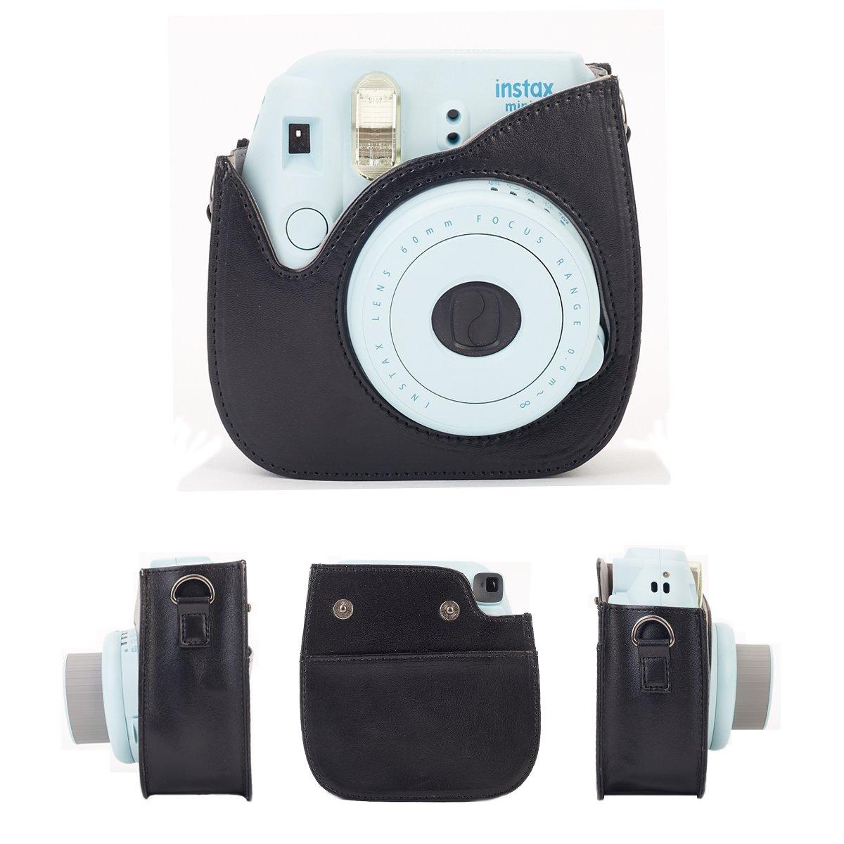 Mini 9 C/ámara instant/ánea Leebotree Bolsa de Transporte Fabricada en Cuero Azul Dispone de Una Correa de Proteger y Bolsillo para Fujifilm Instax Mini 8 8+