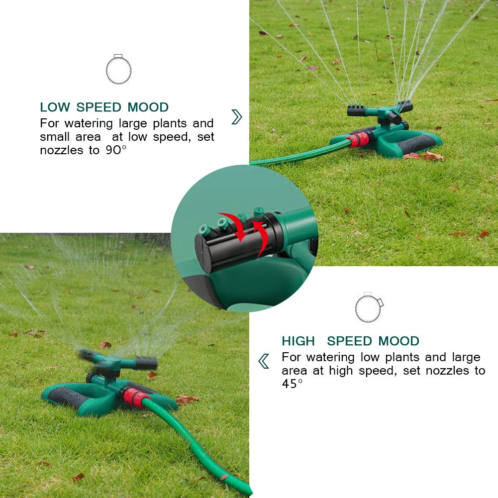 BTSD-home Lawn Sprinkler Automatic 360 Degree Rotating Garden Sprinkler with 3 Arms and Metal Weighted Base, Adjustable Tandem Irrigation System (Green/Black) by BTSD-home (Image #5)