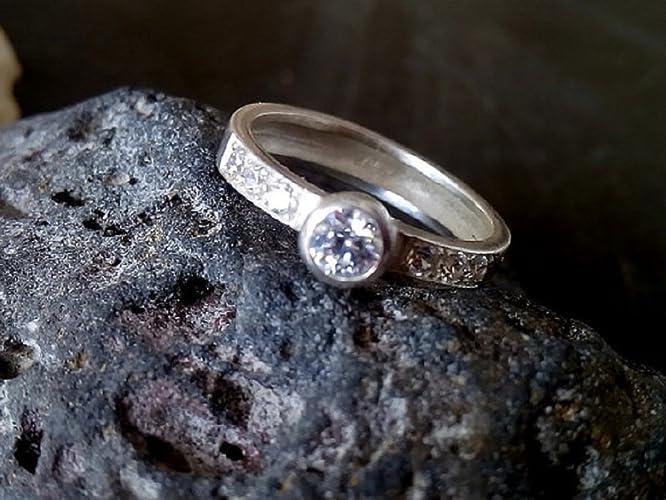 Engagement Ring Sterling Silver Ring Bezel Setting Ring Wedding