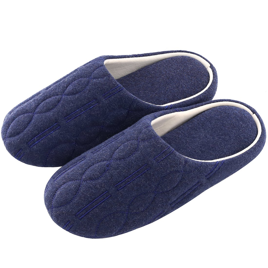 Women's Comfort Quilted Cotton Memory Foam House Slippers with Elegant Embroidery (Medium/7-8 B(M) US, Midnight Blue)