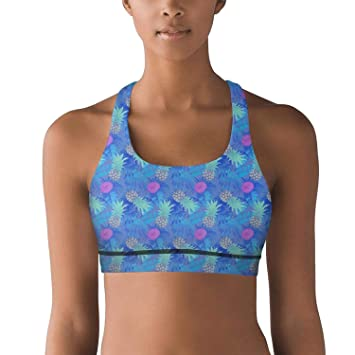 1d0ba412d1 UniqueBRA Blue Pineapple Painting Yoga Sports Bra for Attractive Women  Sweat-Wicking Workout Gym Yoga