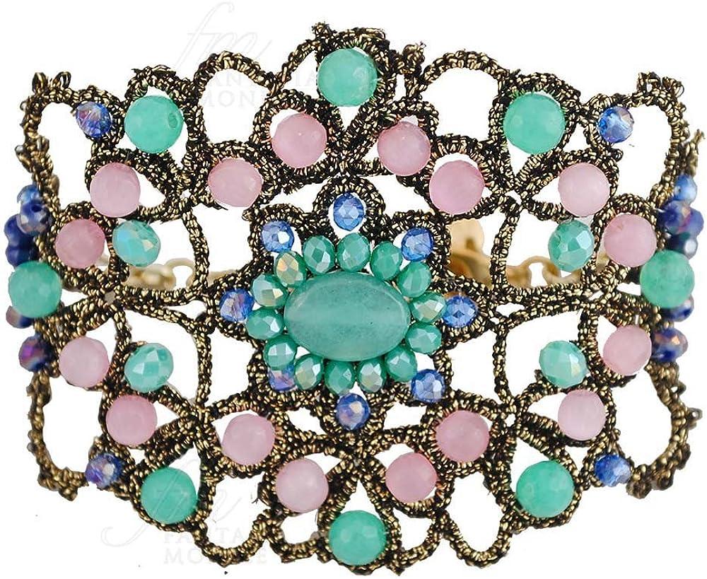 FANTASIA MONILE pulsera encaje frivolité Haute Couture piedras naturales jade ojo de gato hecho a mano bqq9wfm