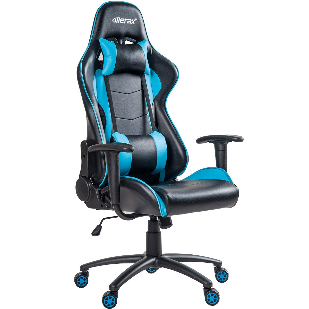 Merax Ergonomic High Back Swivel Racing Style Gaming Chair PU Leather with Lumbar Support and Headrest (Blue) by Merax