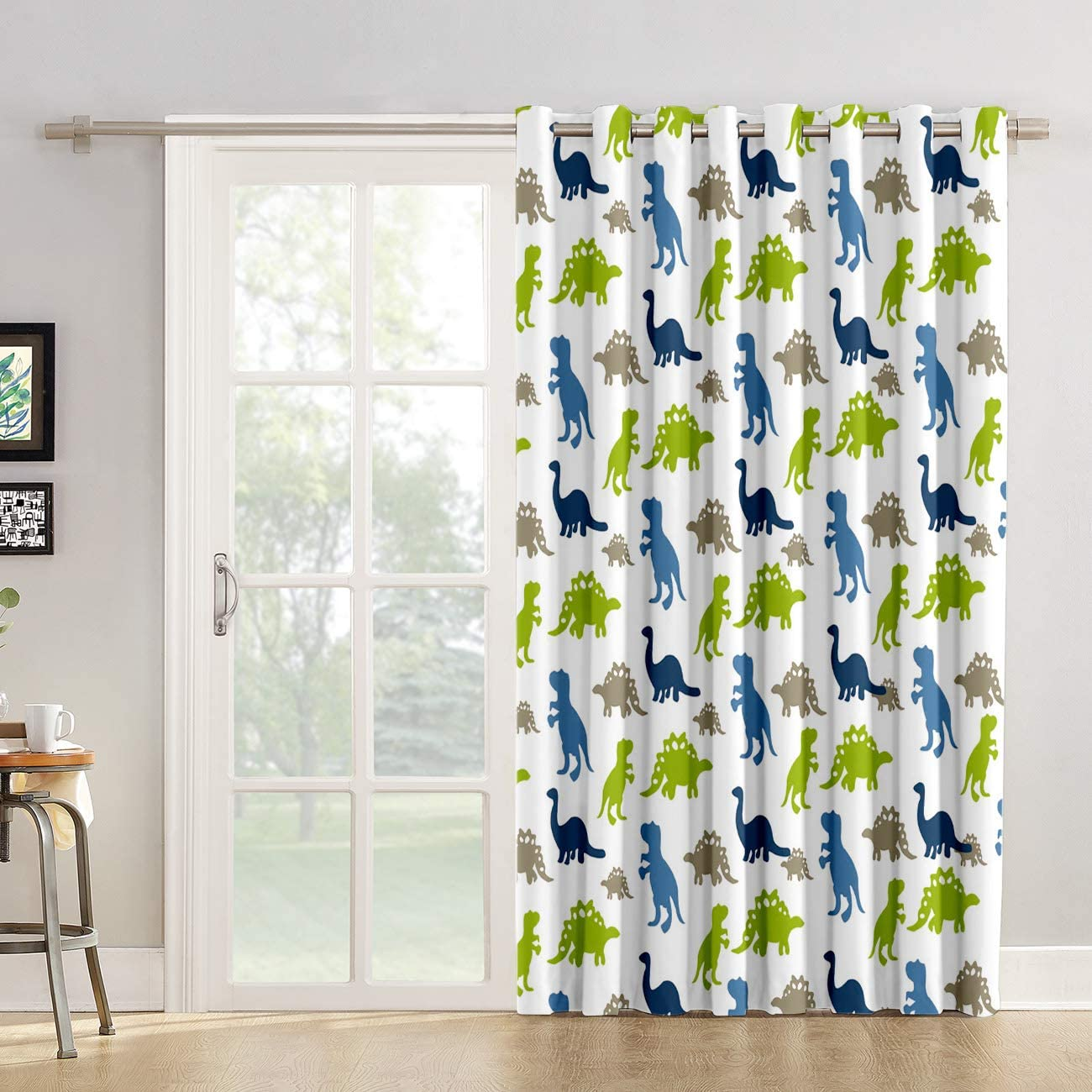 "Futuregrace Window Decor Dinosaur Blackout Curtains, Cute Cartoon Dinosaur Design Livingroom Bedroom Darkening Window Draperies & Curtains for Sliding Glass Door Home Office Decor 52"" W by 45"" L"