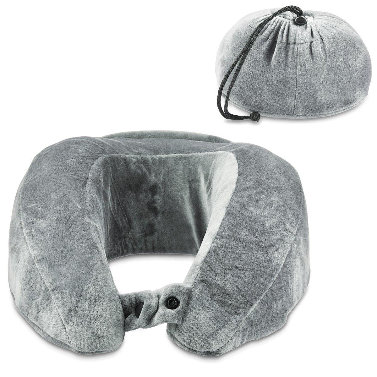 Navaris almohada de viaje con bolso integrado almohada cervical de espuma viscoelástica