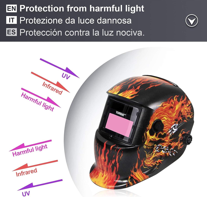Yorbay/® Solar Automatisch verdunkelnd Schwei/ßhelm Schwei/ßmaske mit 5 St/ück Ersatzgl/äser Schleif-Funktion 109mm x 89mm