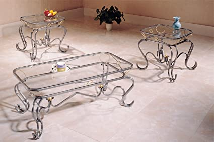 Amazon Com 3 Piece Luxurious Glass Coffee Table End Tables Set