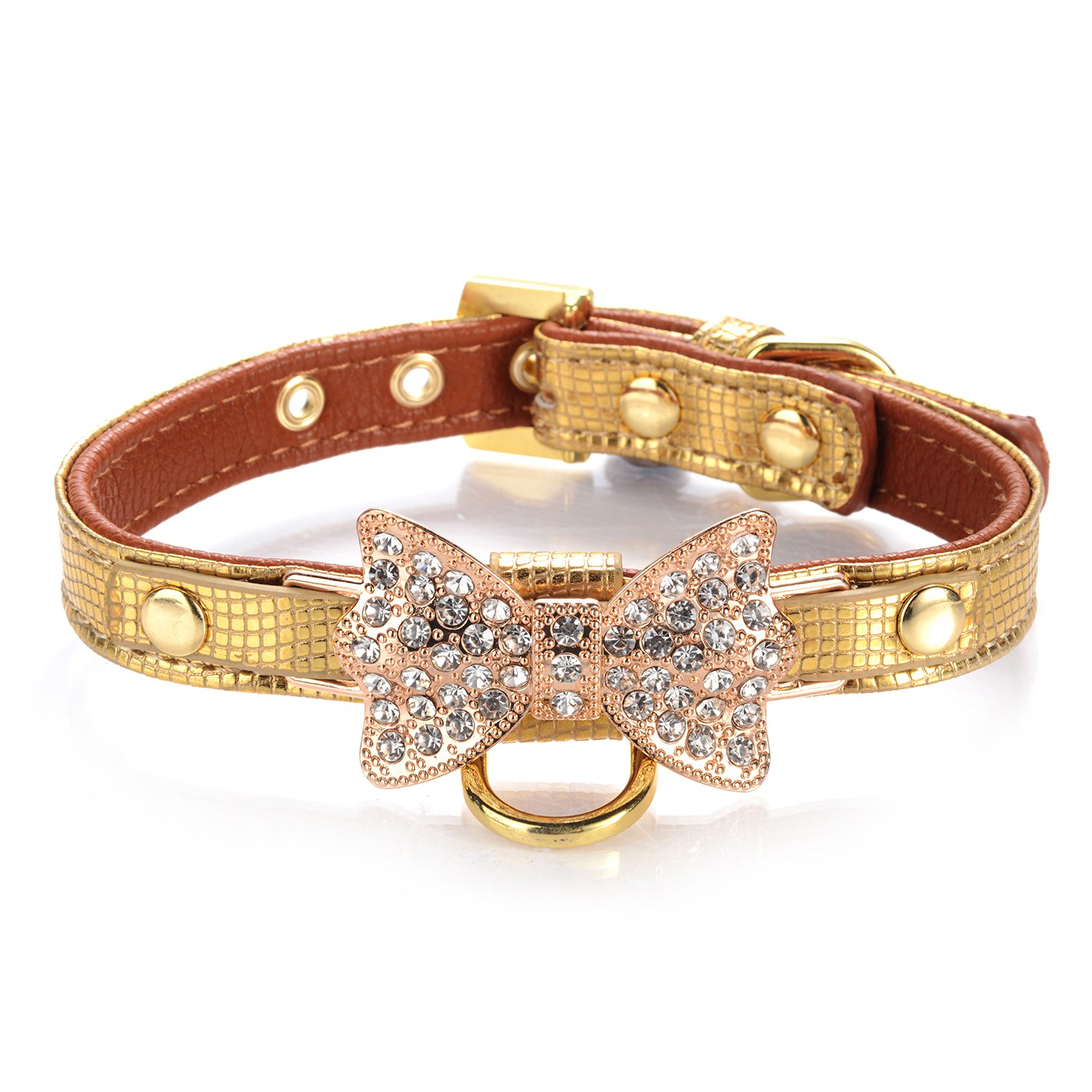 LOVPE Gold Bling Diamond Giltter Leather Fashion Collar with Ring for Tags for Small Dogs,Cat,Puppy and Kitty Walking Travel Party Gifts Tedd, Poodle Dog,Bulldog and Yorkshire Terrier (XS, Gold)