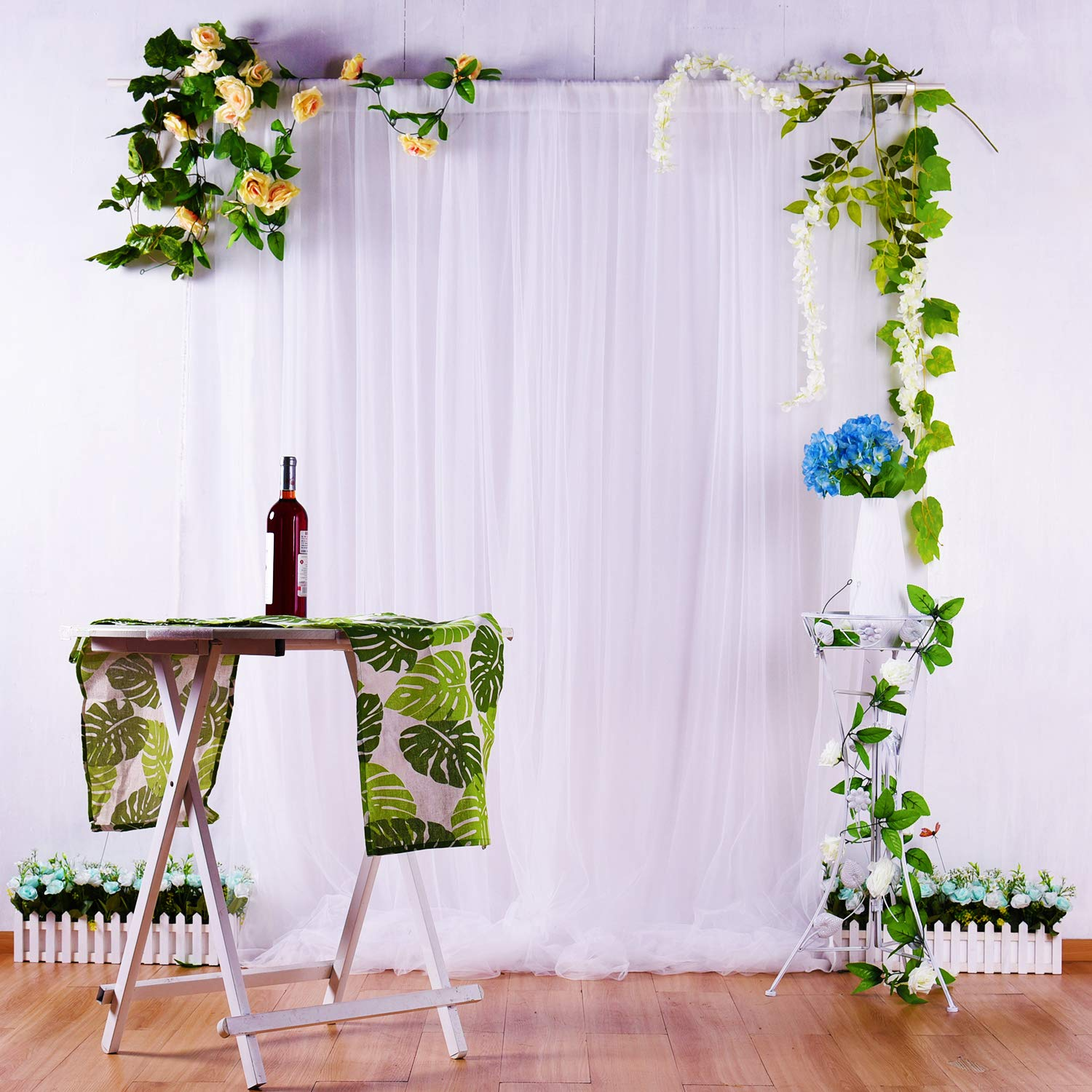 White Tulle Backdrop Curtains for Parties Weddings Baby Shower Birthday Photography Engagement 5ft x 7ft Drape Backdrop Photo Booth Backdrop