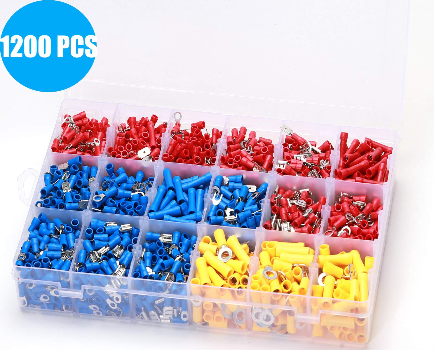 1200PCS Wire Connectors Insulated Electrical Wire Terminals Elibbren Insulated Wiring Terminals Crimp Connector Terminal Assortment Kit for Automotive