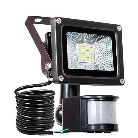 Luz de seguridad de 10 vatios SAMNUE con luces de sensor de movimiento Luces de inundación