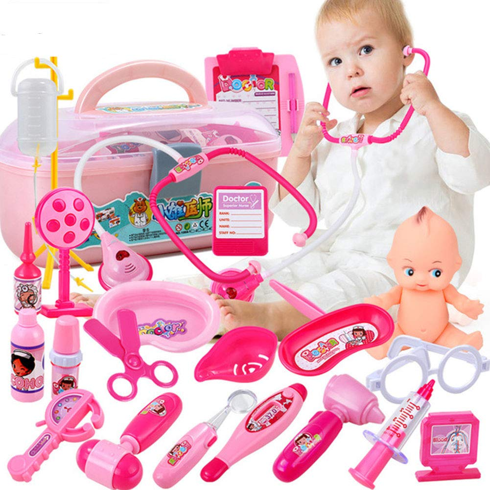 Kid Doctor Kit -22 Medical Tools with Sound and Light and Light Simulation Heartbeat, Pretend Dentist Child Toy with Stethoscope Boy Girl Gift