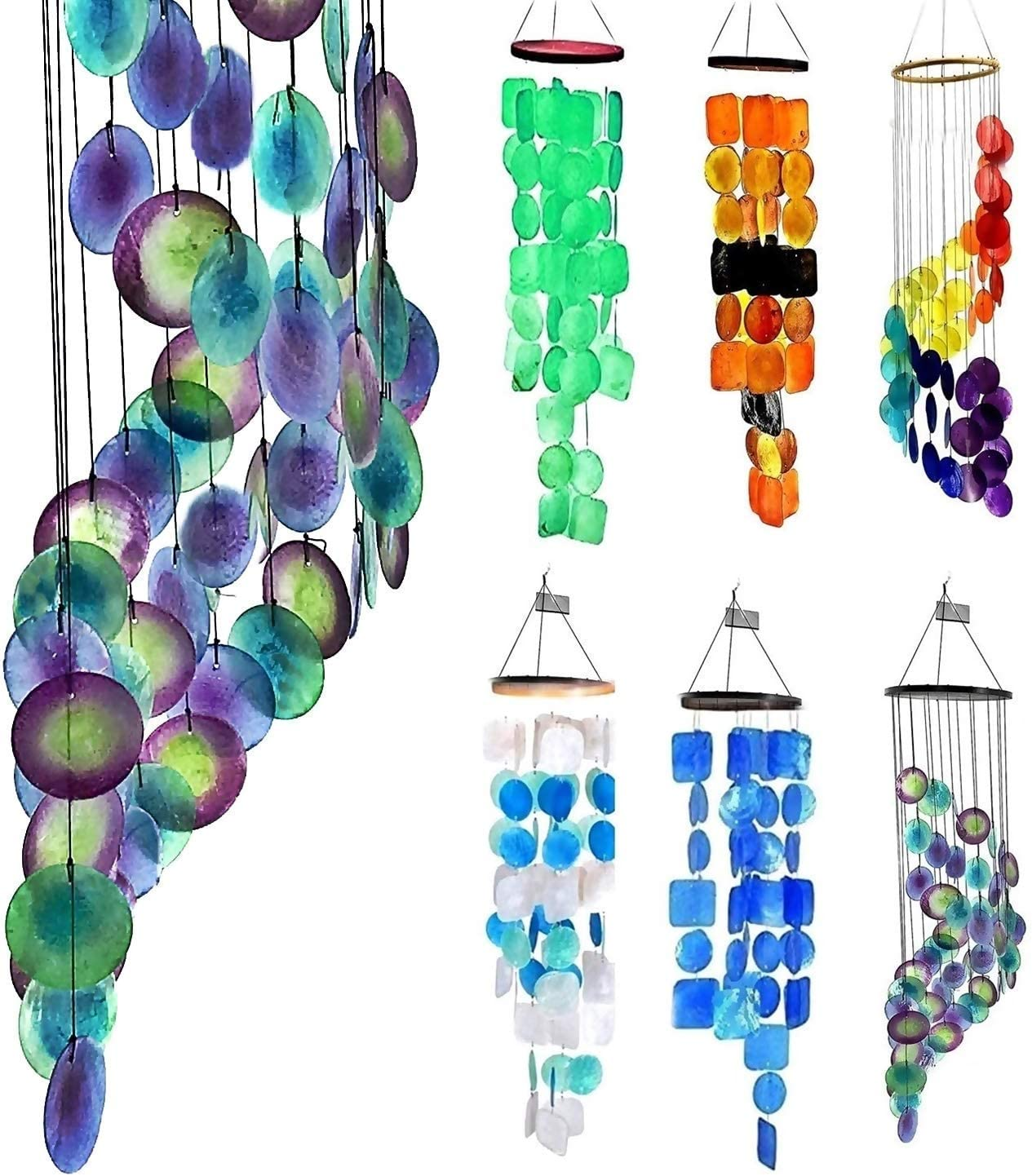 Bellaa 23332 Wind Chime Outdoor Garden Gifts for Mom Outside Chime Memorial Sympathy Windchimes Patio Yard Unique Home Decor Handmade Bamboo Wood Capiz Sea Glass Colors Peacock Metal S Hook 27 inch