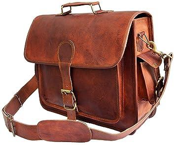 Mens Genuine Leather messenger bag for 15.6 quot  laptop shoulder bag  briefcase satchel gift 4cc8e36bdd2f0