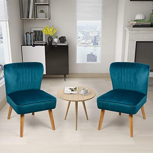 Modern Blue Velvet Armless Accent Reading Sofa Chair Set of 2 Comfy Bedroom Chairs for Adults Vintage Wingback Club Slipper Chair for Living Room, Cute Desk Decorative Office Chair 2, Blue