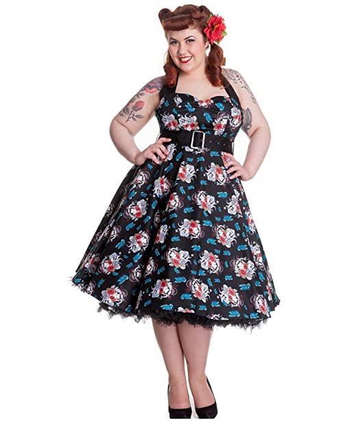 dcf97bde65bc Hell Bunny Floral 50s DRESS Blue Rockabilly GEISHA: Amazon.co.uk: Clothing