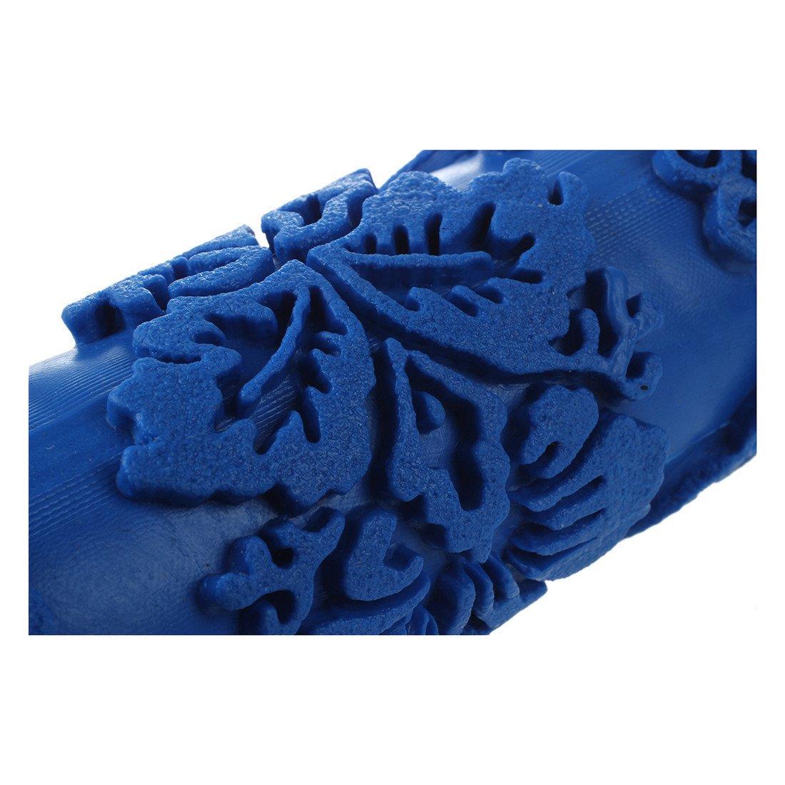 Gaoominy Rouleau a peinture avec motifs decoratifs pour machine Motifs fleurs//bleu 15?cm