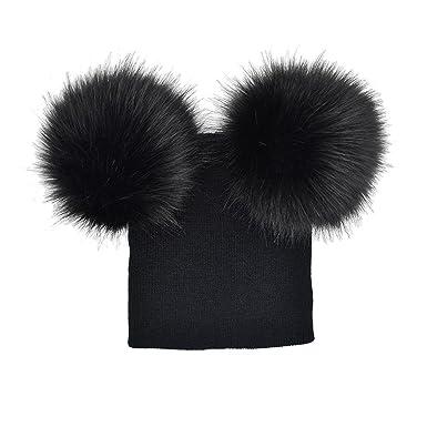 Sixcup Infant Toddler Baby Girls Cute Double Pom Pom Balls Hats Knit Crochet  Winter Warm Beanie 65d96085df7e