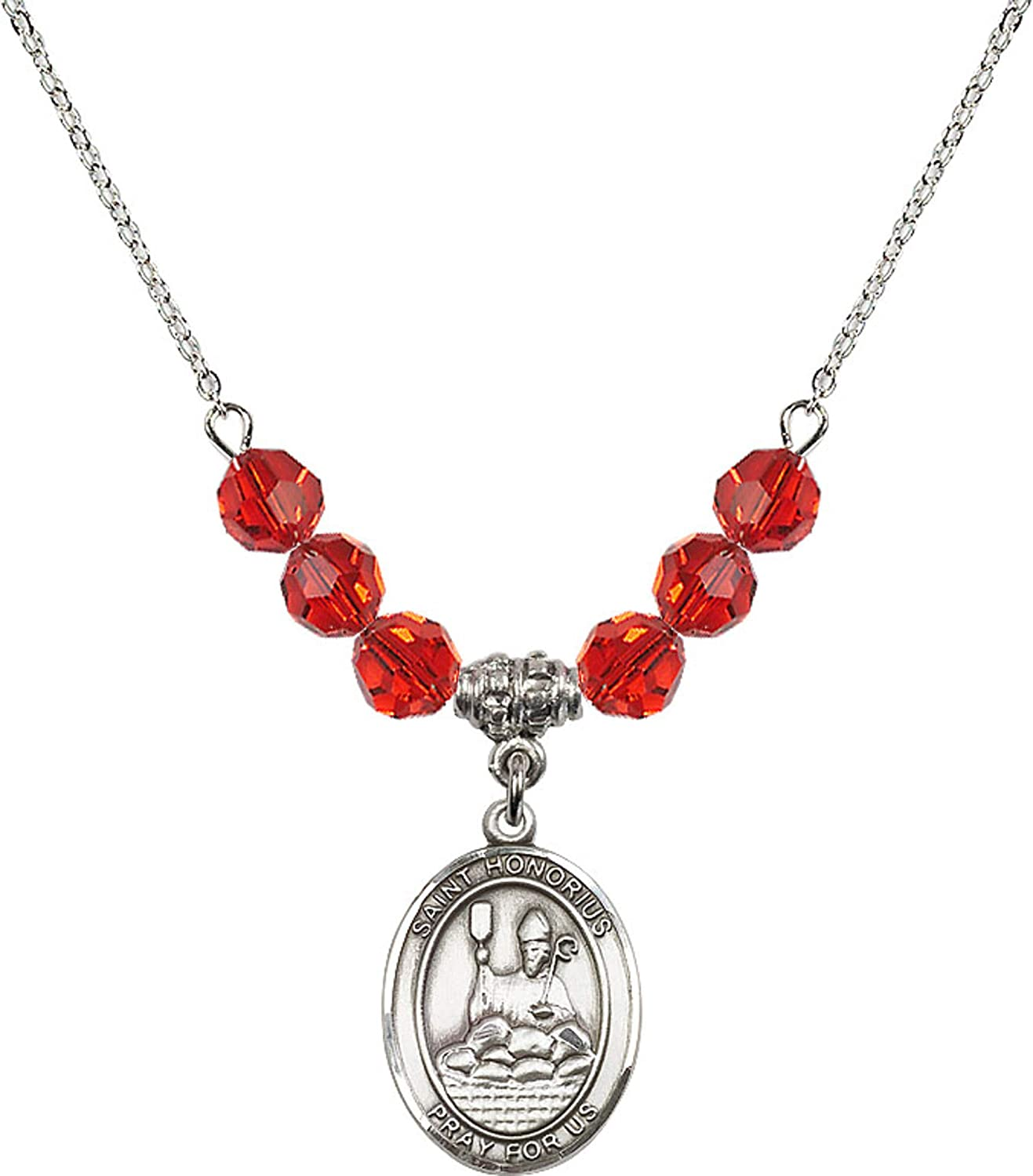 Bonyak Jewelry 18 Inch Rhodium Plated Necklace w// 6mm Red July Birth Month Stone Beads and Saint Honorius of Amiens Charm