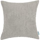 CaliTime Throw Pillow Cover Case for Couch Sofa Bed, Comfortable Supersoft Corduroy Corn Striped Both Sides, 18 X 18 Inches, Taupe