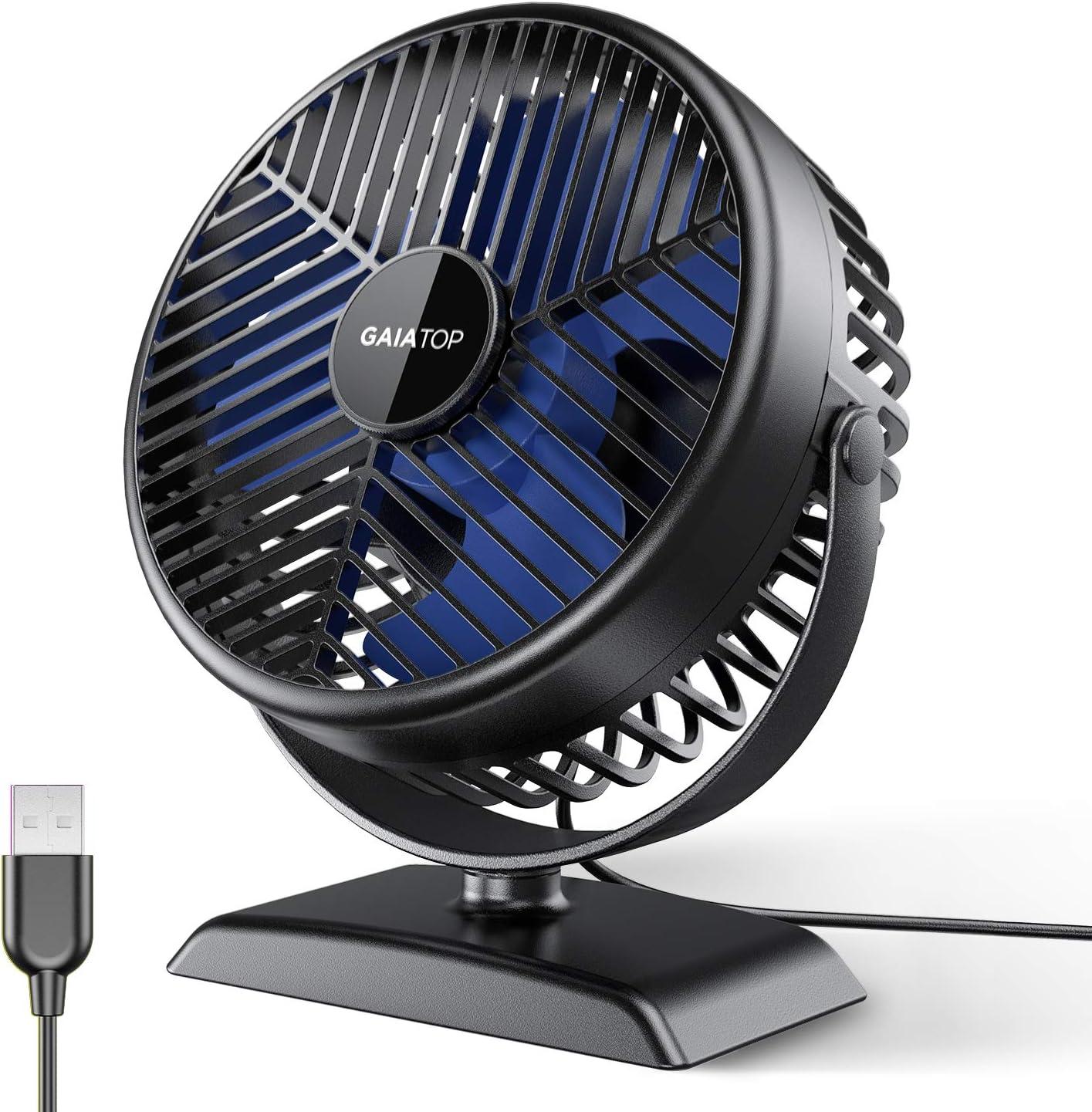 Gaiatop USB Desk Fan, Small but Powerful, Portable Quiet 3 Speeds Wind Desktop Personal Fan, Dual 360° Adjustment Mini Fan for Better Cooling Home Bedroom Office Car Outdoor(Black Blue)