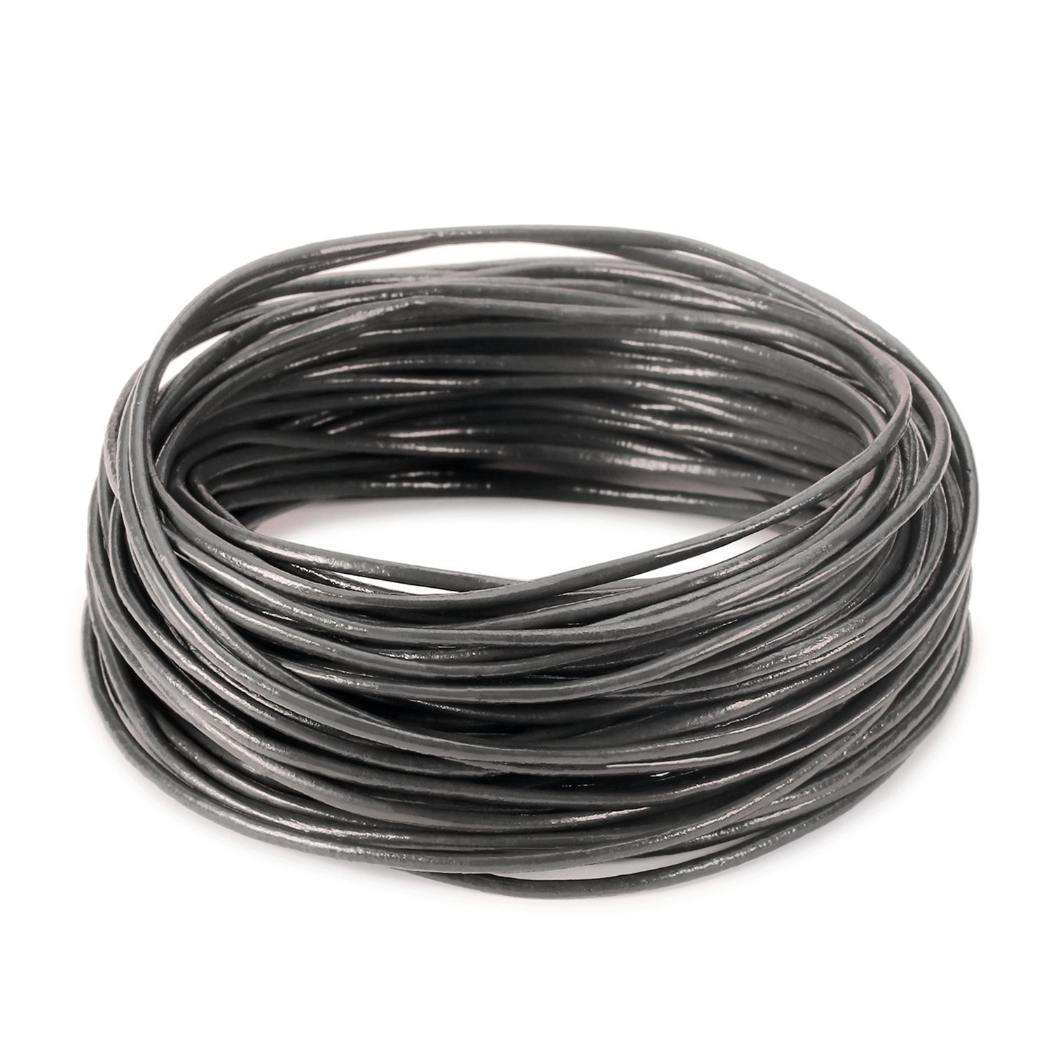 BeadsTreasure 15 Ft of Dark Gray Genuine Leather Cord Round 2 mm Diameter. 082045210309 4336861935