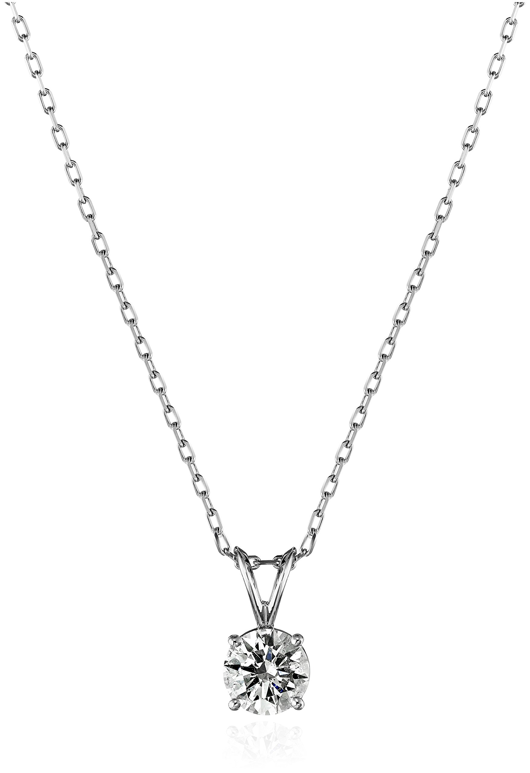14k White Gold Round-Cut Diamond Solitaire Pendant Necklace (1cttw, K-L Color, I1-I2 Clarity), 18'' by Amazon Collection