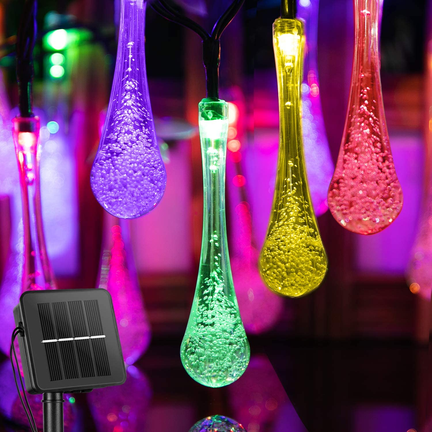 Outdoor Solar String Lights 25.7 Feet 40 Led Water Drop Solar Powered Lights with 8 Modes, Waterproof Fairy Crystal Lights for Patio Garden Yard Tree Wedding Party Decor (Multicolored)