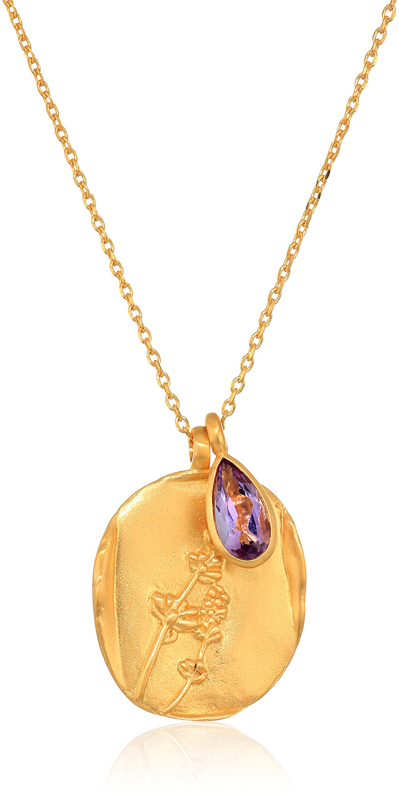 Satya Jewelry Amethyst Gold Pendant 30-Inch Chain Necklace, 30''