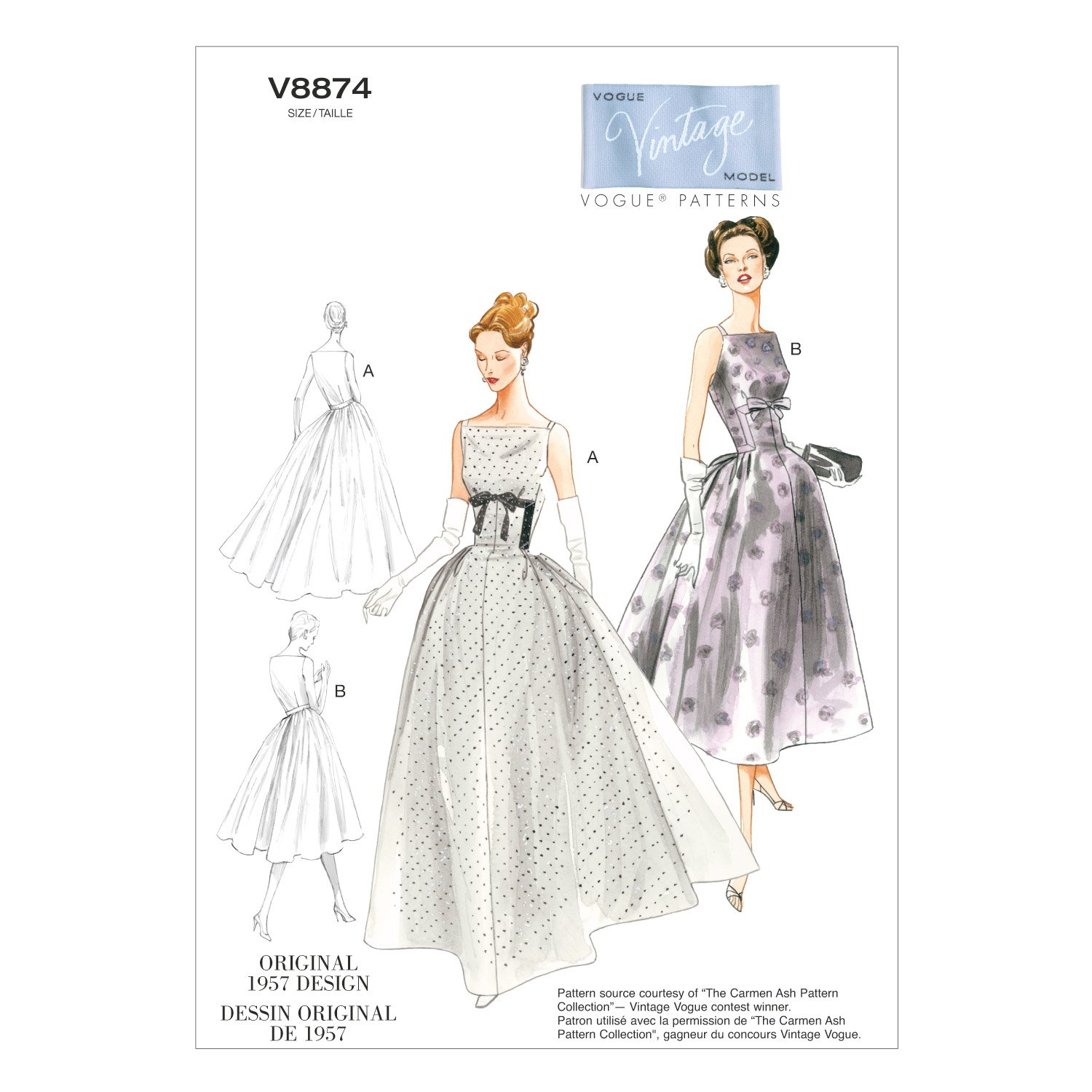 1950s Sewing Patterns | Dresses, Skirts, Tops, Mens 1957 Vogue Patterns V8874 Misses Dress Sewing Template Size A5 (6-8-10-12-14) $19.99 AT vintagedancer.com