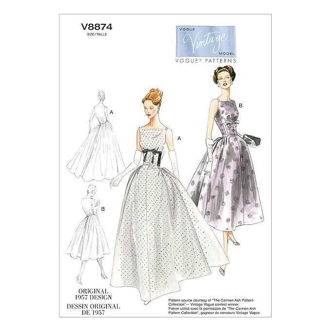 1950s Sewing Patterns | Dresses, Skirts, Tops, Mens 1957 Vogue Patterns V8874 Misses Dress Sewing Template Size A5 (6-8-10-12-14) $19.99 AT vintagedancer.com