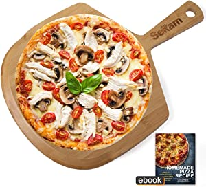 SEKAM Wood Pizza Peel - Wooden Pizza Paddle Spatula for Homemade Pizza Bread Baking Peel - Bamboo Pizza Cutting Board for Cheese/Fruit - Pizza Board with Handle (17 x 12 inch)