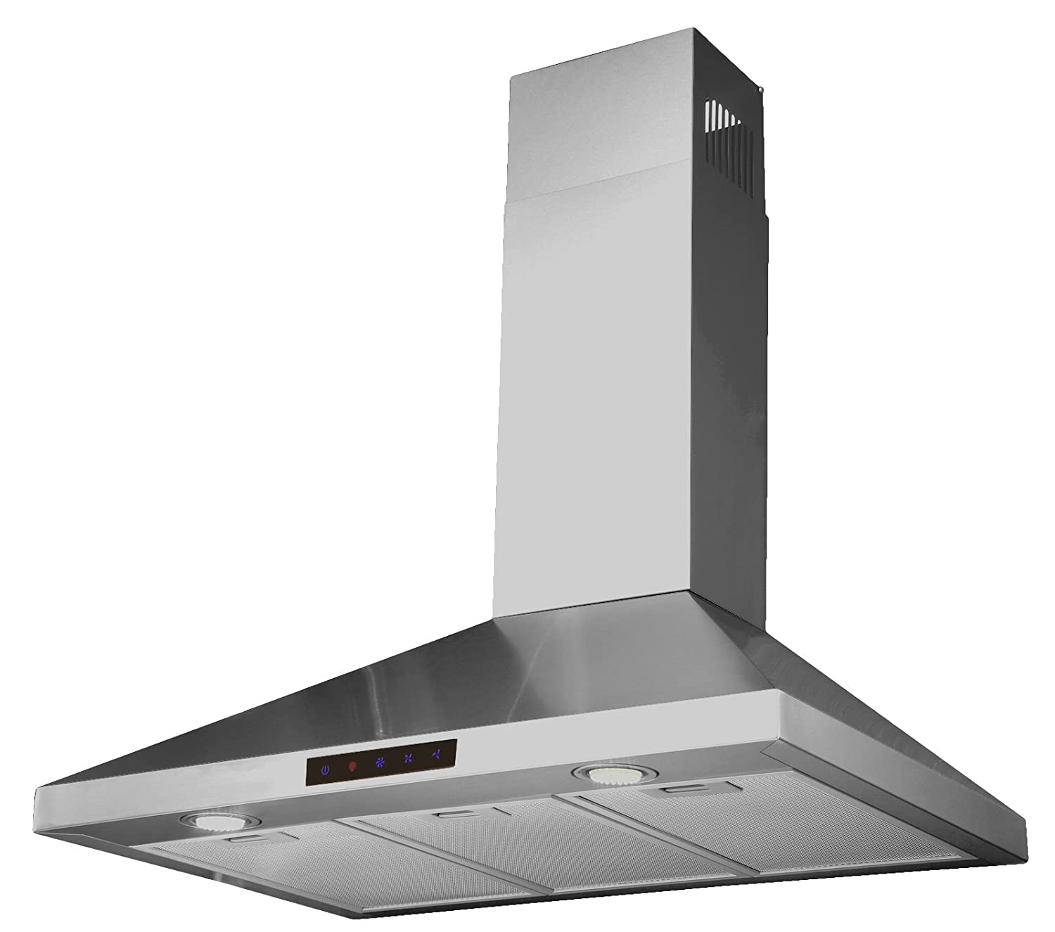 "Kitchen Bath Collection STL90-LED Stainless Steel Wall-Mounted Kitchen Range Hood with High-End LED Lights, 36"" 36"""