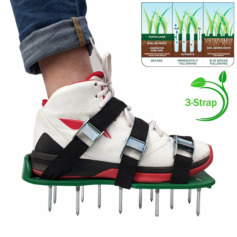 Alotm Lawn Aerator Shoes with Adjustable Zinc Alloy Buckles and 3 Straps, Heavy Duty Spiked Sandals Shoes Garden Tool for Aerating Your Lawn or Yard - One Size Fits All Men and Women