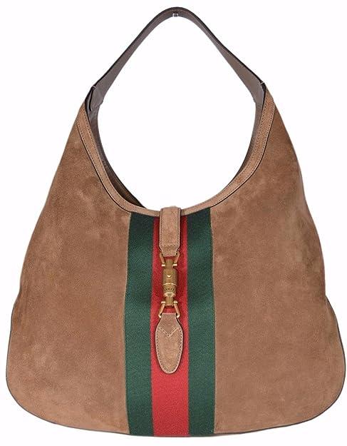 5dadb9b1613 Gucci Women s 362968 Soft Suede Red Green Web Stripe Jackie Hobo Handbag