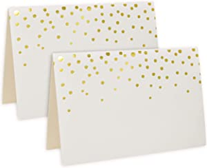 """100 Gold Foil Dots Place Cards for Weddings Party Event Dinner Buffet Table Setting Name Place cards 2.5"""" x 3.75"""" Gold Foil Dotted Tent Cards"""