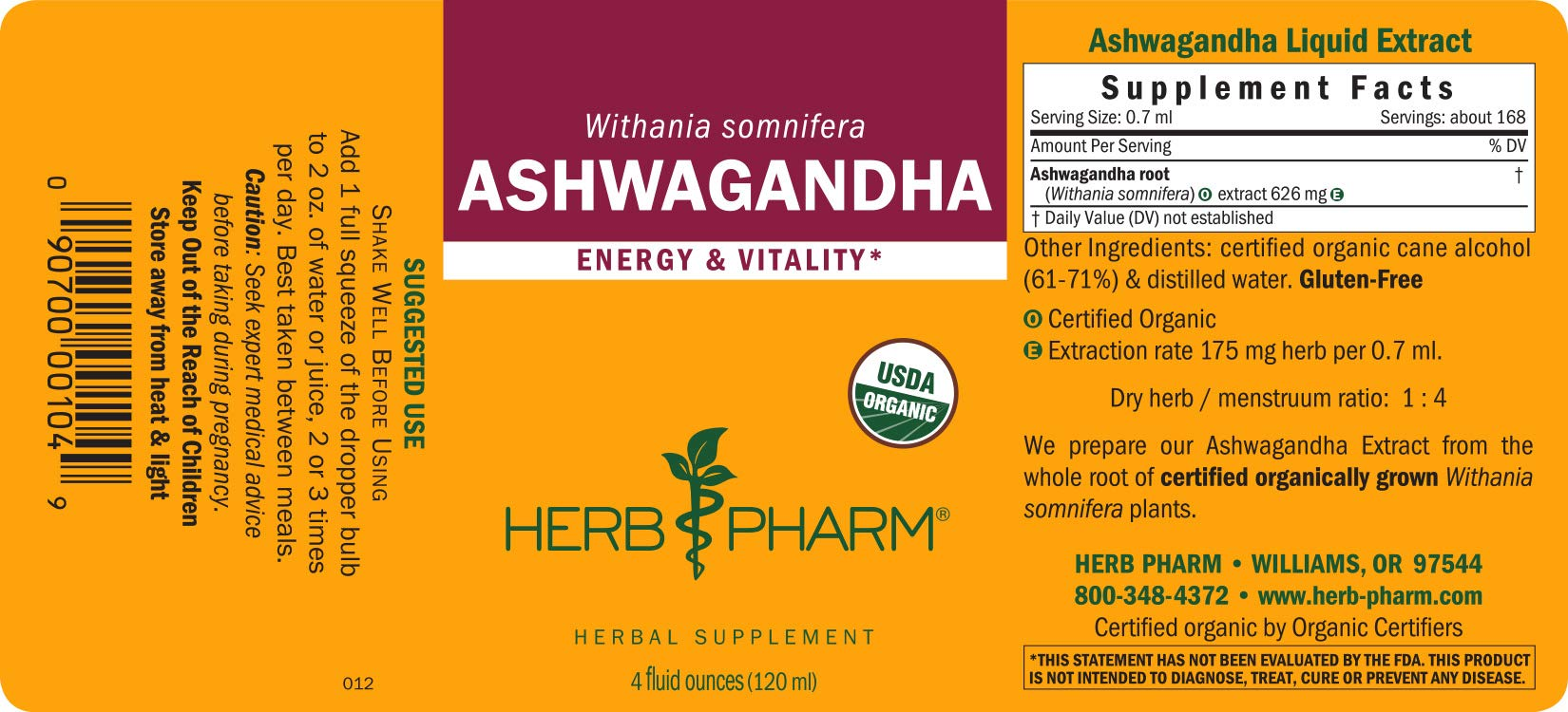 Herb Pharm Certified Organic Ashwagandha Liquid Extract for Energy and Vitality - 4 Ounce by Herb Pharm (Image #6)