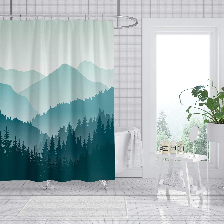 Beautiful Landscape Polyester Waterproof Bathroom Fabric Shower Curtain 12 Hook
