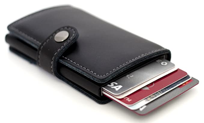 Dennison mens mini wallet genuine leather slim rfid safe business dennison mens mini wallet genuine leather slim rfid safe business card holder automatic pop colourmoves