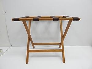 Wooden Mallet Deluxe Straight Leg Luggage Rack,Brown Straps, Medium Oak