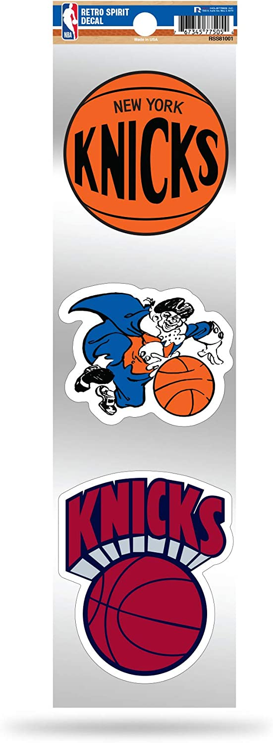 Rico Industries NBA New York Knicks NBA 3-Piece Retro Spirit Decals, Team Color, Size of Individual Decals Will Vary